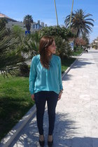 aquamarine blouse - navy cotton Bershka leggings - black Bata heels