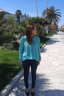 Navy-cotton-bershka-leggings-aquamarine-blouse-black-bata-heels