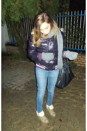 navy skinny H&M jacket - camel boots - magenta Miss Sixty coat