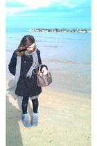 black H&M coat - heather gray Primark boots - black Calzedonia leggings