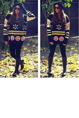 brandminkpink cardigan - ASH boots - Zara jeans - asos hat