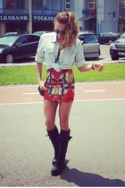H&M shirt - Miss Sixty boots - freak of nature dress - Givenchy bag