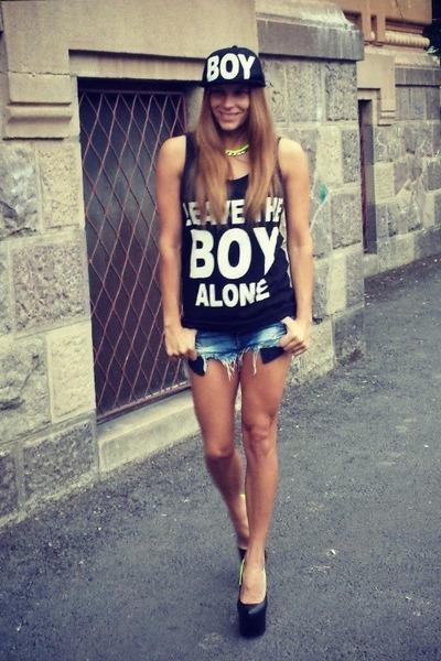 Boy top - dv8 shoes - Zara jeans - Boy hat - H&M necklace