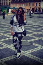 Lazy Oaf leggings - asos sunglasses - Adidas sneakers - ragged priest blouse