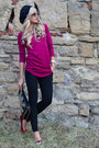 Hot-pink-grena-iq-blouse-black-hat-black-iq-leggings