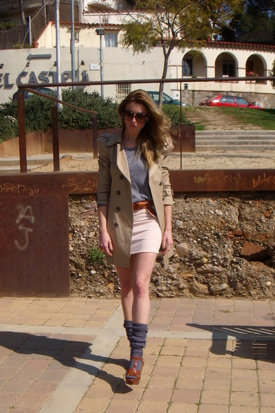 beige Zara - Topshop skirt - gray American Apparel shirt - brown YSL shoes