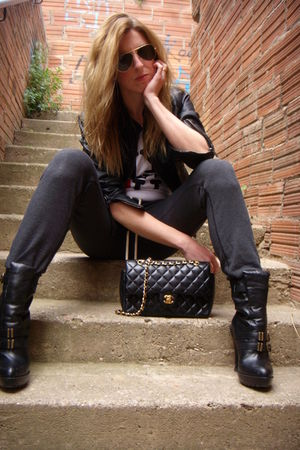 gray Topshop pants - black Jeffrey Campbell boots - black Chanel lambskin 255 pu