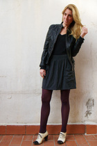 black Zara jacket - gray American Apparel skirt - black LnA t-shirt - white camp