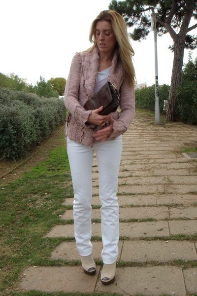 pink Mango sweater - white JBrand jeans - beige Jeffrey Campbell shoes - pink YS