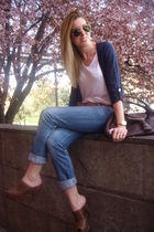 blue H&M cardigan - brown Zara clogs shoes - brown Fendi purse - white t by alex