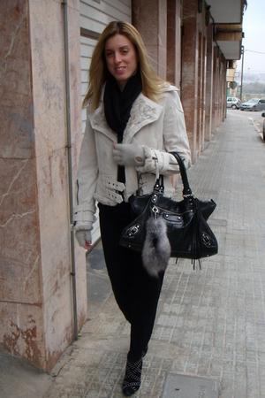 black Zara pants - white asos jacket - white H&M gloves