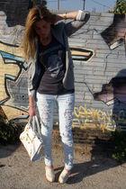 beige clogs Topshop shoes - blue Topshop jeans - white balenciaga accessories
