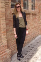 black Mango blazer - black Topshop pants - green Zara t-shirt - black Zara shoes