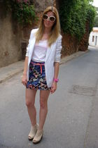 beige jeffrey cambell shoes - H&M skirt - white Topshop blazer - pink casio acce