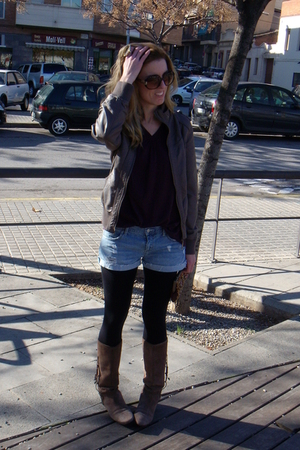 purple Mango sweater - brown Fridays Project jacket - blue Forever21 shorts - bl