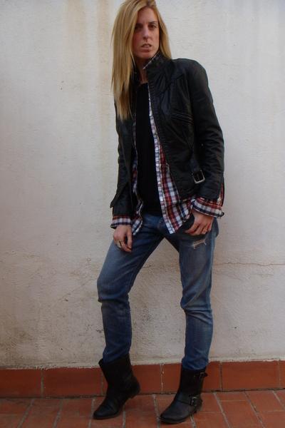 red Zara shirt - black Zara shoes - blue current eliot jeans - black Zara jacket