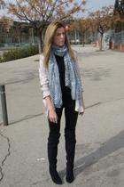 black asos leggings - pink H&M blazer - H&M scarf - black Zara boots