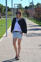 Zara jacket - Zara shorts - Mango heels - H&M accessories