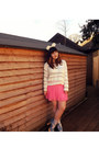 White-monki-sweater-white-h-m-socks-bubble-gum-h-m-skirt