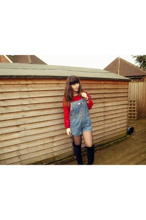 red Bershka jumper - black Primark boots - light blue vintage romper