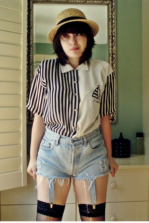 straw hat Urban Outfitters hat - sailor shirt vintage shirt - Bitching and Junkf