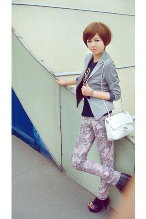 silver Ciao blazer - white Ciao bag - black leather kick heels