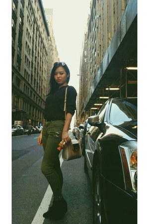 nude Aldo bag - brick red sunglasses - black sneakers - olive green H&M pants