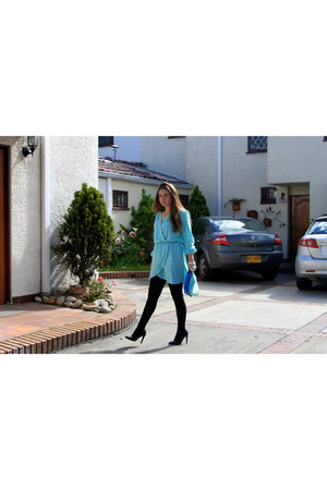 aquamarine In Love with Fashion dress - blue Zara bag - black Mango heels
