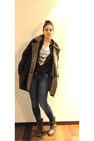 brown Stradivarius boots - dark brown Roberto Cavali coat - navy Mango jeans - d
