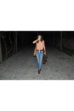 brown Stradivarius boots - blue Mango jeans - camel Roberto Cavali bag