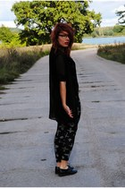 black leather second hand shoes - black cross second hand leggings
