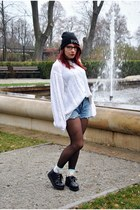 black creepers SequinShoes shoes - black beanie hype nosis hat