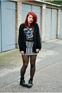 Black-creepers-sequinshoes-shoes-black-lace-cropp-socks-striped-skirt