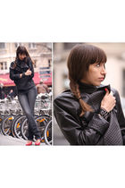 Chanel lambskin 255 jacket - gray Zion jeans - red Louboutin shoes