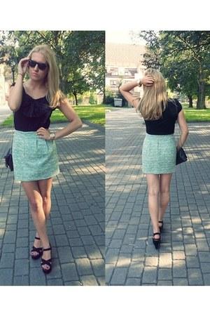 Zara skirt - H&M bag - H&M blouse - Gortz 17 wedges - asos watch