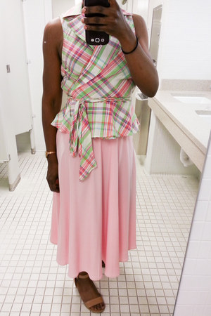 Ralph Lauren top - bubble gum skirt - tan me too sandals