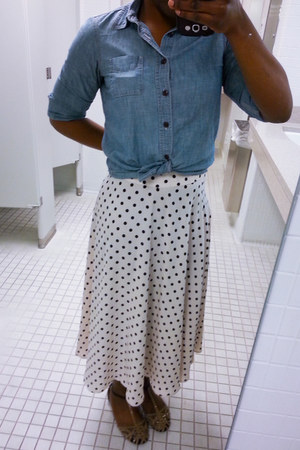 Lands End blouse - polka dot skirt - sandals