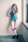 Shorts-socks-green-american-apperal-bodysuit-heels