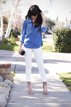 blue shirt - white Rich & Skinny jeans - tan Isabel Marant heels