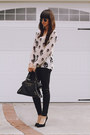Off-white-skulls-blouse-black-coated-pants-black-pumps