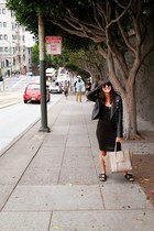black H&M dress - black leather Zara jacket