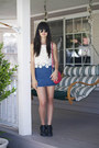 Red-bag-blue-denim-skirt-ivory-top