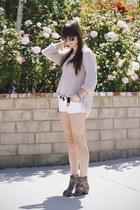 tan sweater - puce boots - white shorts - black western belt