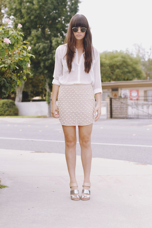peach pearl skirt - black sunglasses - silver sandals - white blouse