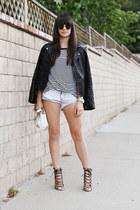 black leather jacket - white striped shirt - white bag