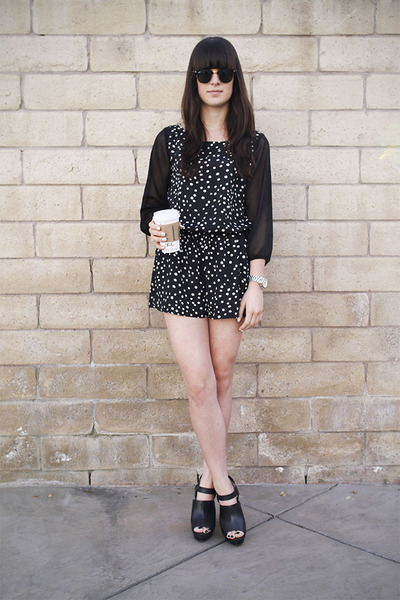 black polka dot romper - black heels
