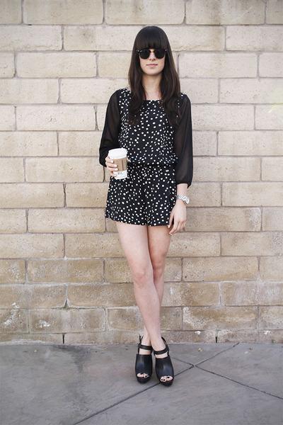 black polka dot romper - black heels