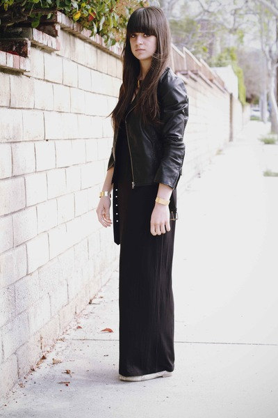 gold cuff bracelet - black maxi dress - black leather jacket - gold necklace