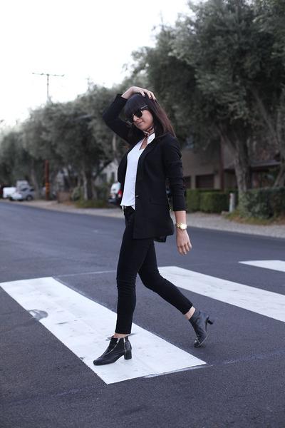 black Frame Denim jeans - black Forever 21 blazer - light orange H&M scarf