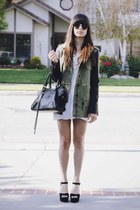 olive green leather sleeves jacket - white dress - black heels